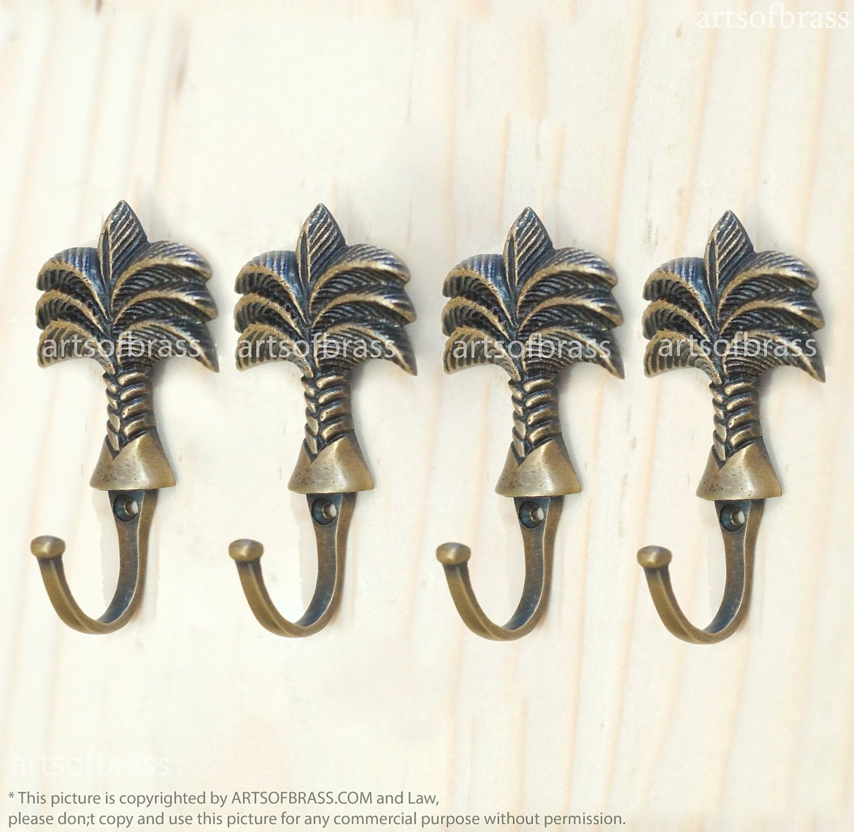 Cast Brass Front Mount Coat Hook with Porcelain Knob Hat Rack Coat Rack Vintage