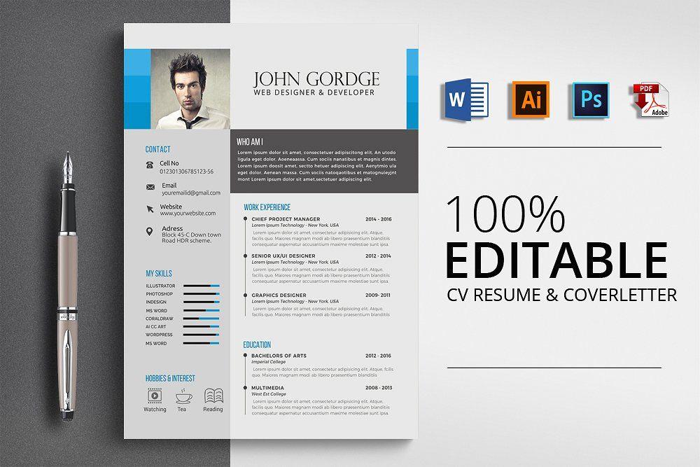 Creative Cv Resume Word Format Resume Words Resume Design Template Resume Templates