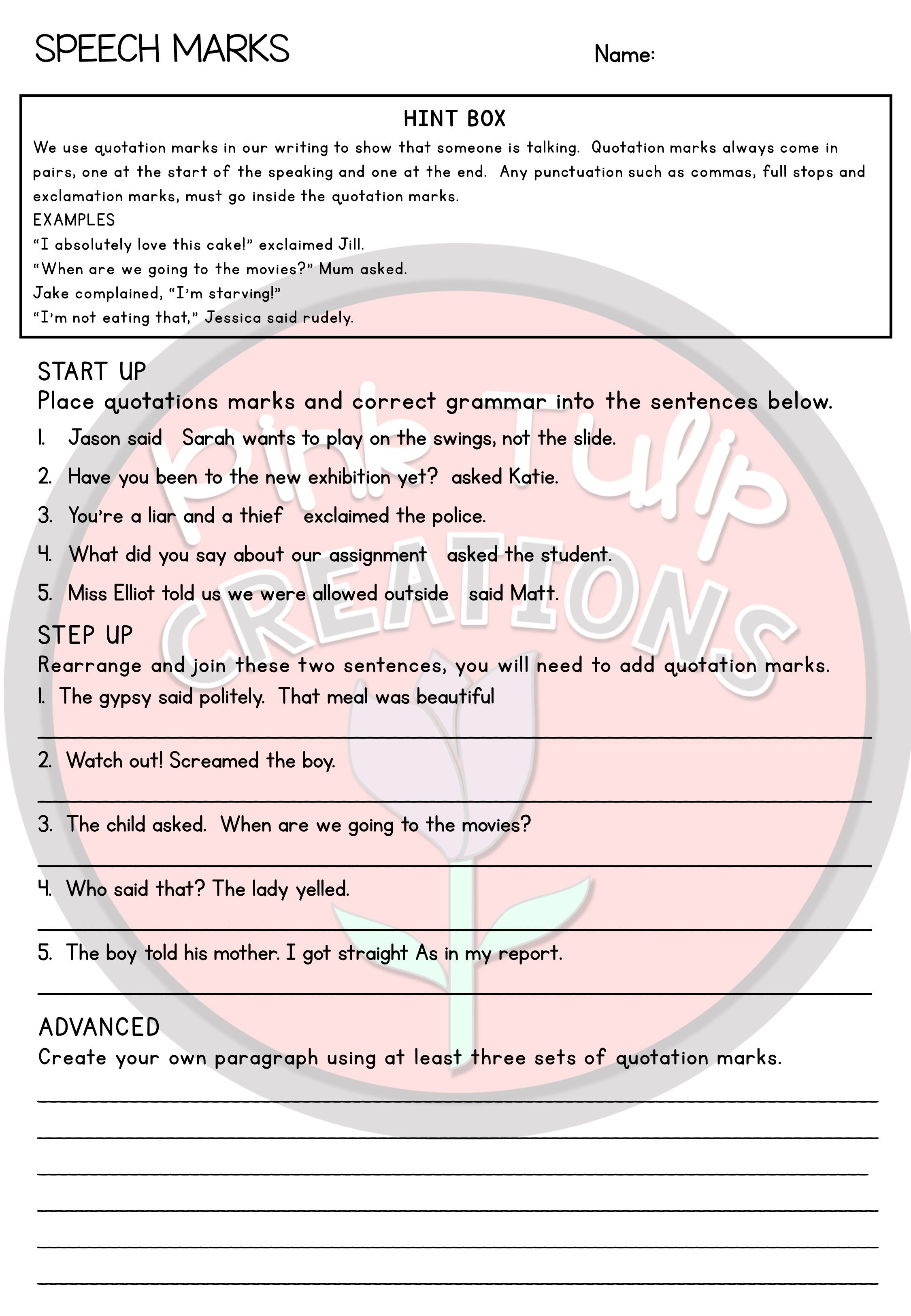 Grammar Worksheet Pack With Images