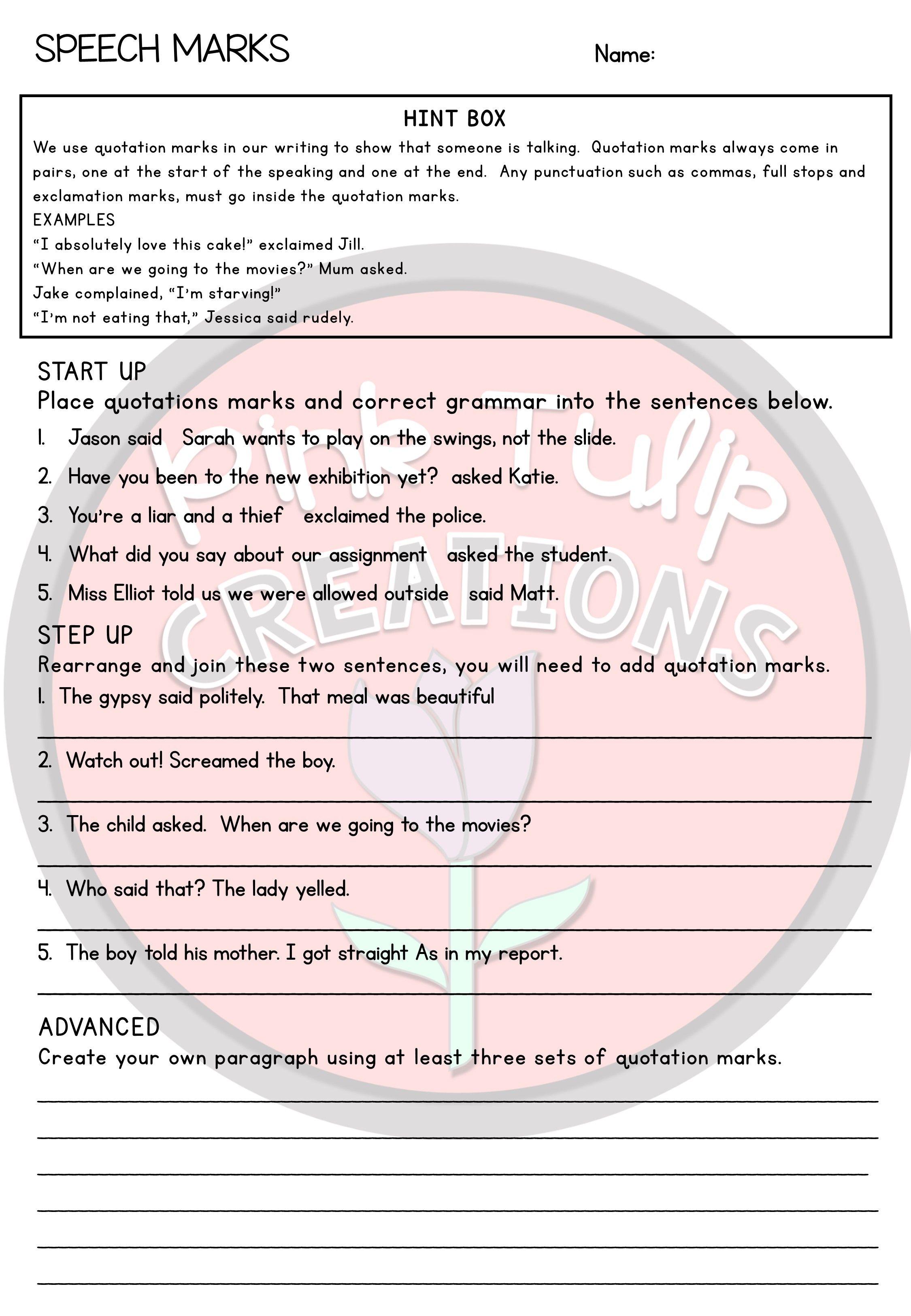 Grammar Worksheet Pack Grammar Worksheets Middle School Writing Activities Quotation Marks