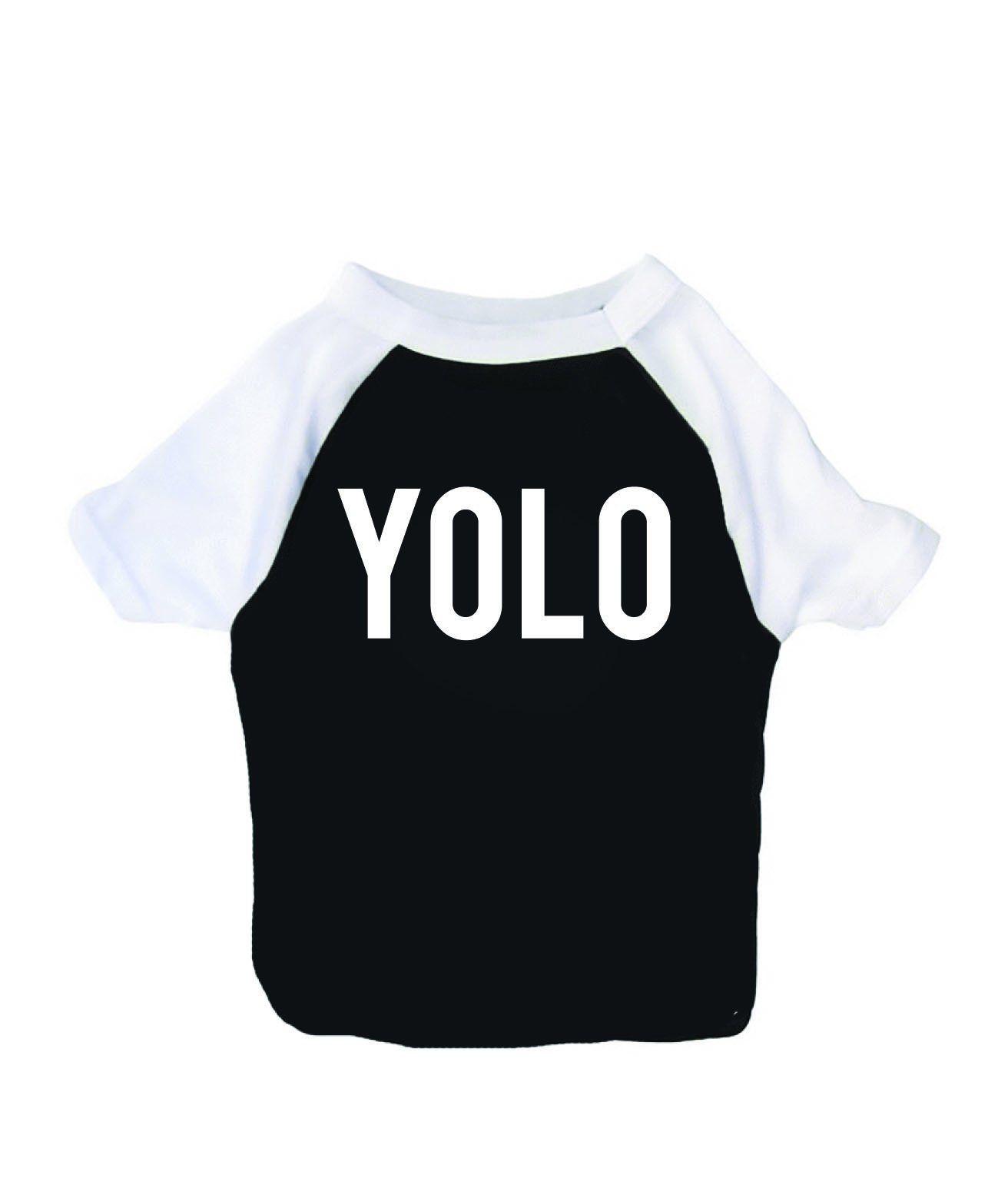 YOLO Dog T Shirt, Raglan Style Tee, Meme Pet Apparel Pet