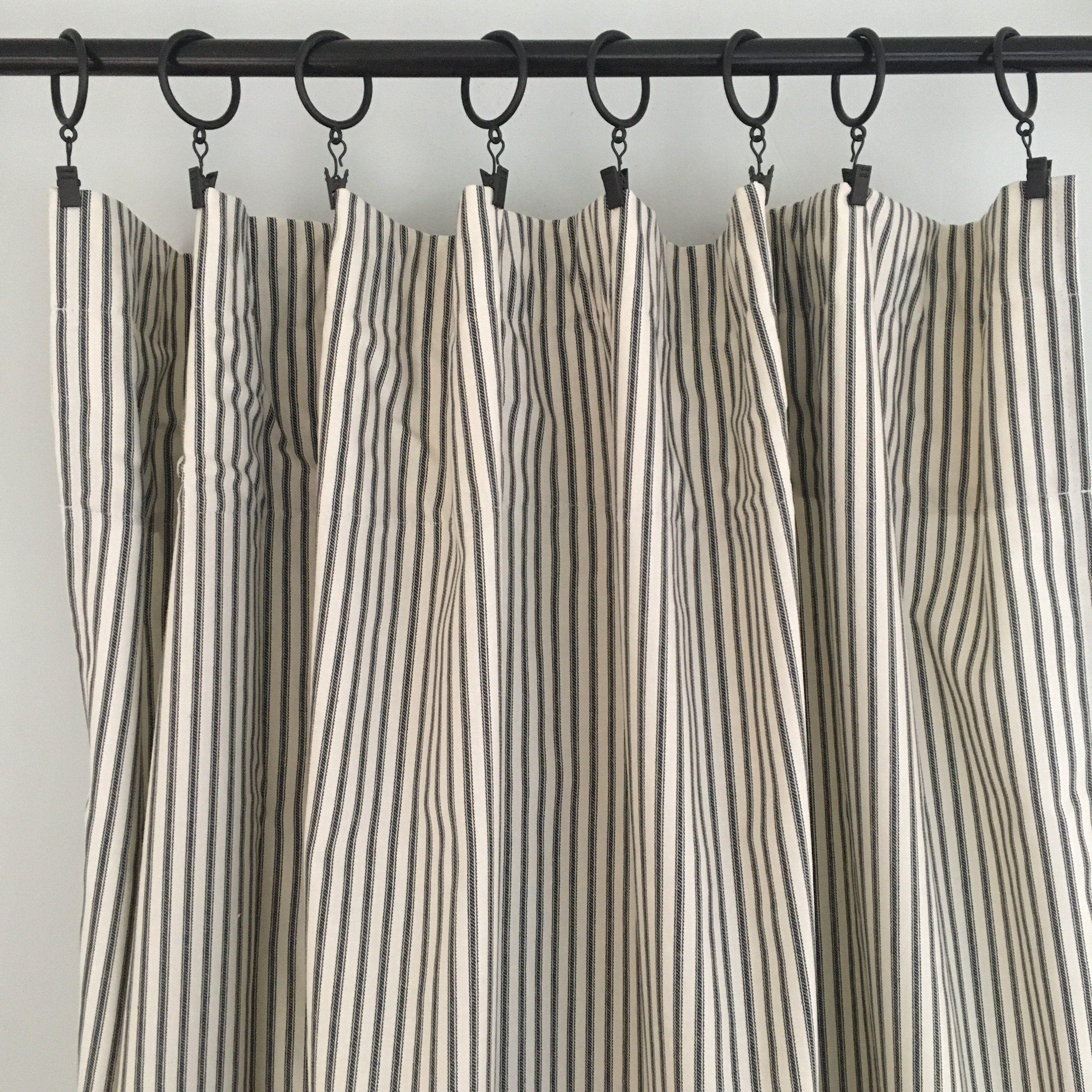 Black Ticking Stripe Curtain Panel Ticking Stripe Curtains