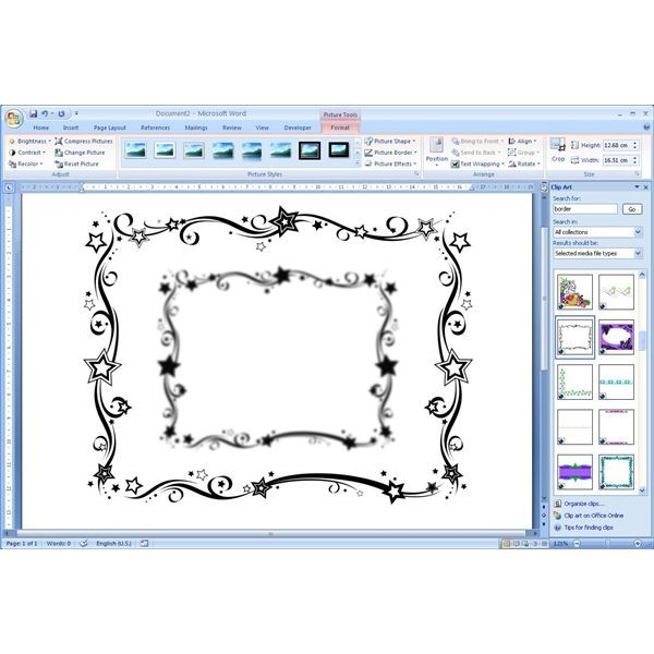 How To Add Free Borders Clip Art Microsoft Word Documents ...