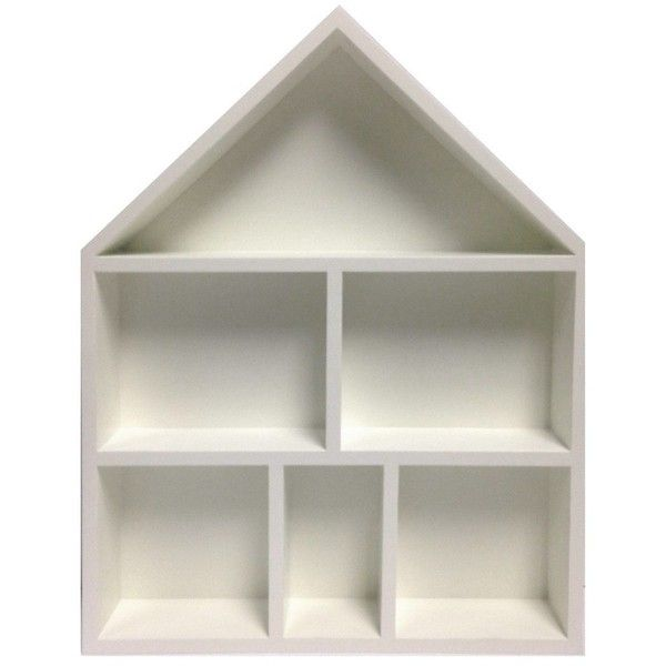 House Cubby Wall Shelf, White ($30) ❤ liked on Polyvore featuring sour cream