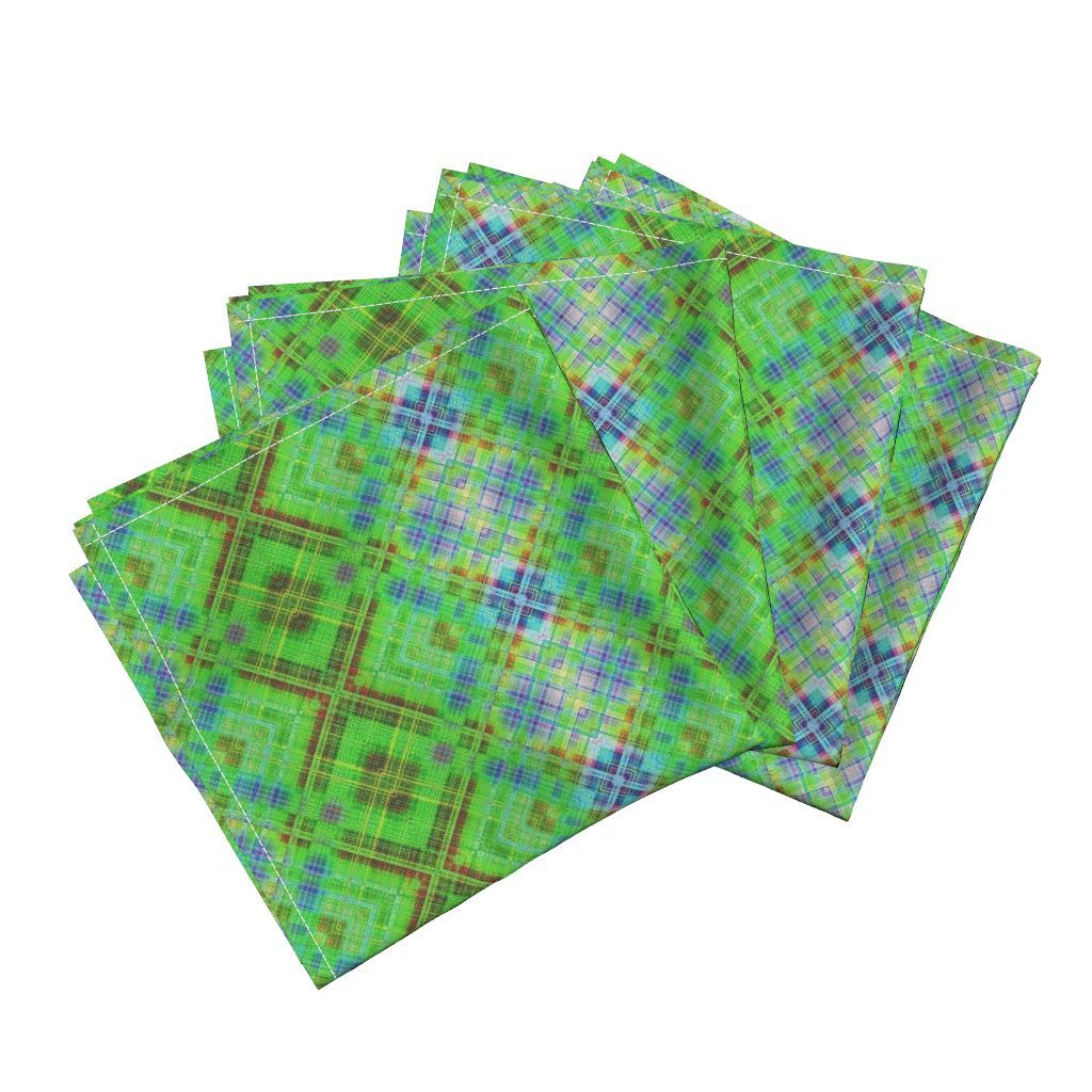 Amarela Dinner Napkins featuring GRUNGE DIAGONAL PLAID 1 BLUE GREEN GRASS by…