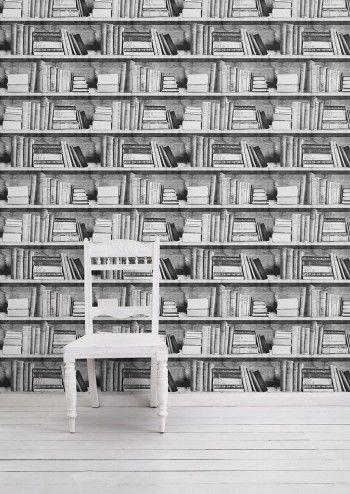 Photocopy Bookshelf Wallpaper - Lime Lace £69.95 #bookshelfeffect #designerwallpaper #mineheart