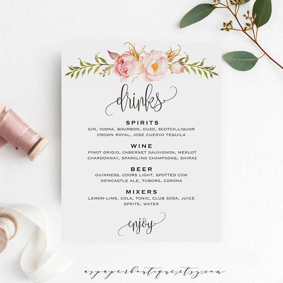 Bar Menu Sign Wedding Bar Menu Template Drink Sign Wedding
