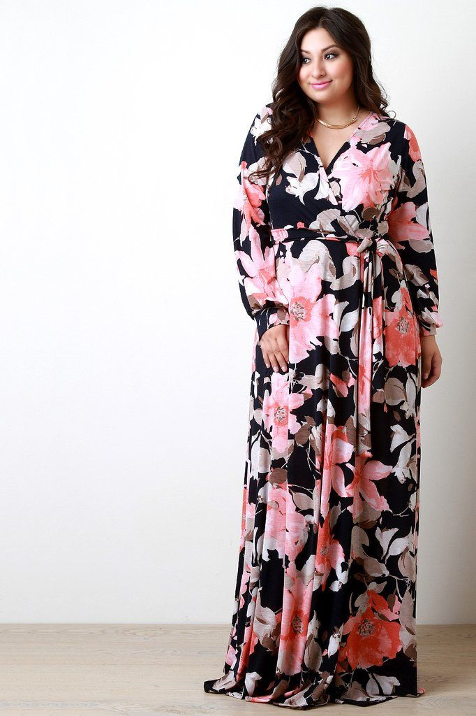 6878dc8f4554 Floral Wrap Style Longsleeve Maxi Dress | BIG & BEAUTIFUL | Floral ...