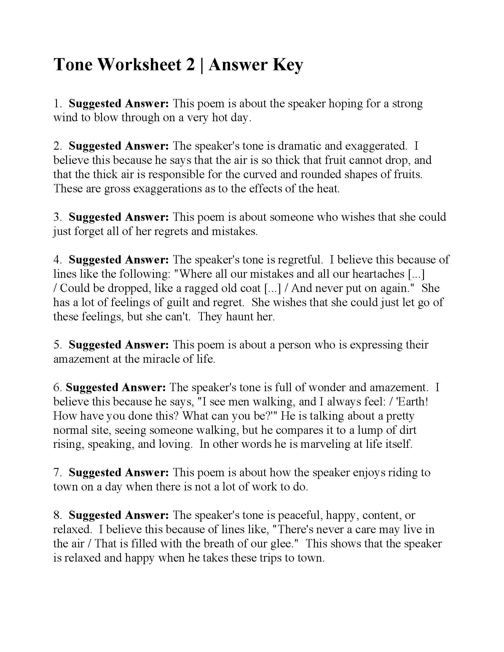 This Is The Answer Key For The Tone Worksheet 2 Language Worksheets Figurative Language Worksheet Poetry Worksheets Though they seem similar and can in fact be related causally, they are in tone is the author's attitude toward a subject. answer key for the tone worksheet 2