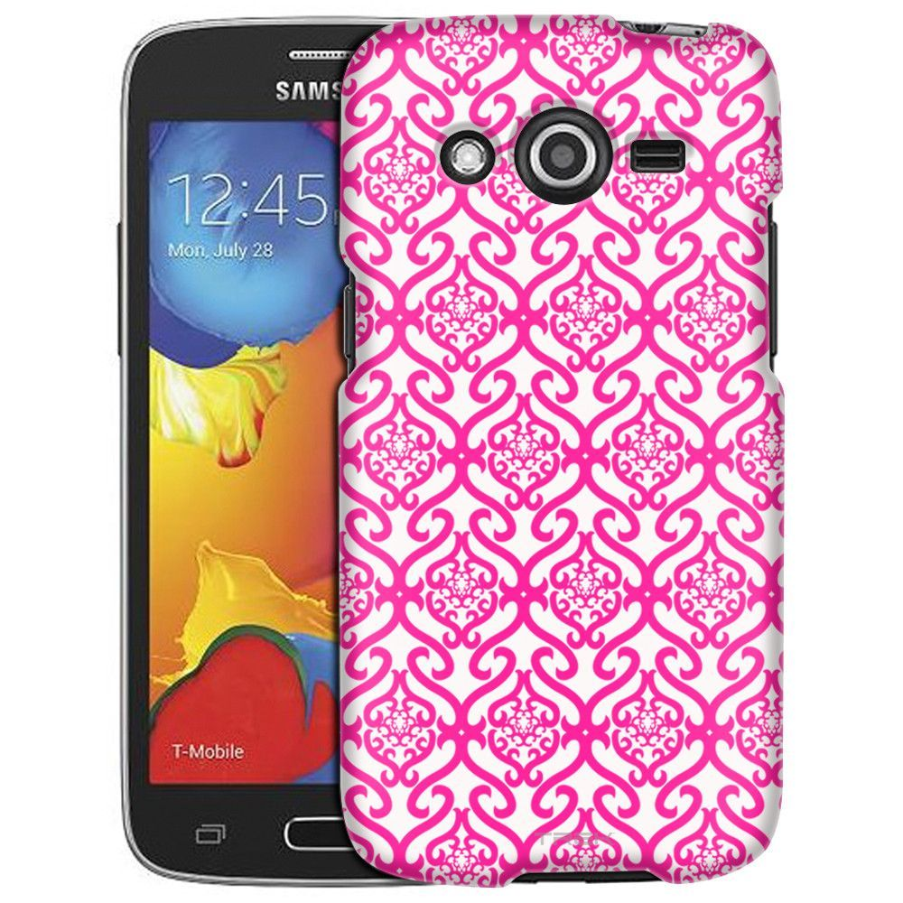 Samsung Galaxy Avant Victorian Scroll Floral Pink on White Slim Case