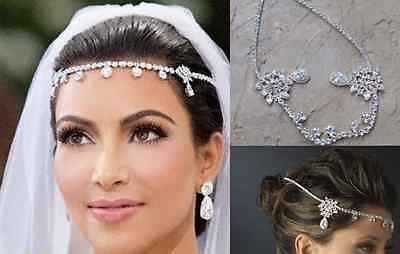 Celebrity+Silver+Plated+Crystal+Rhinestone+Head+Piece+Pagent+Prom+Bridal+Wedding