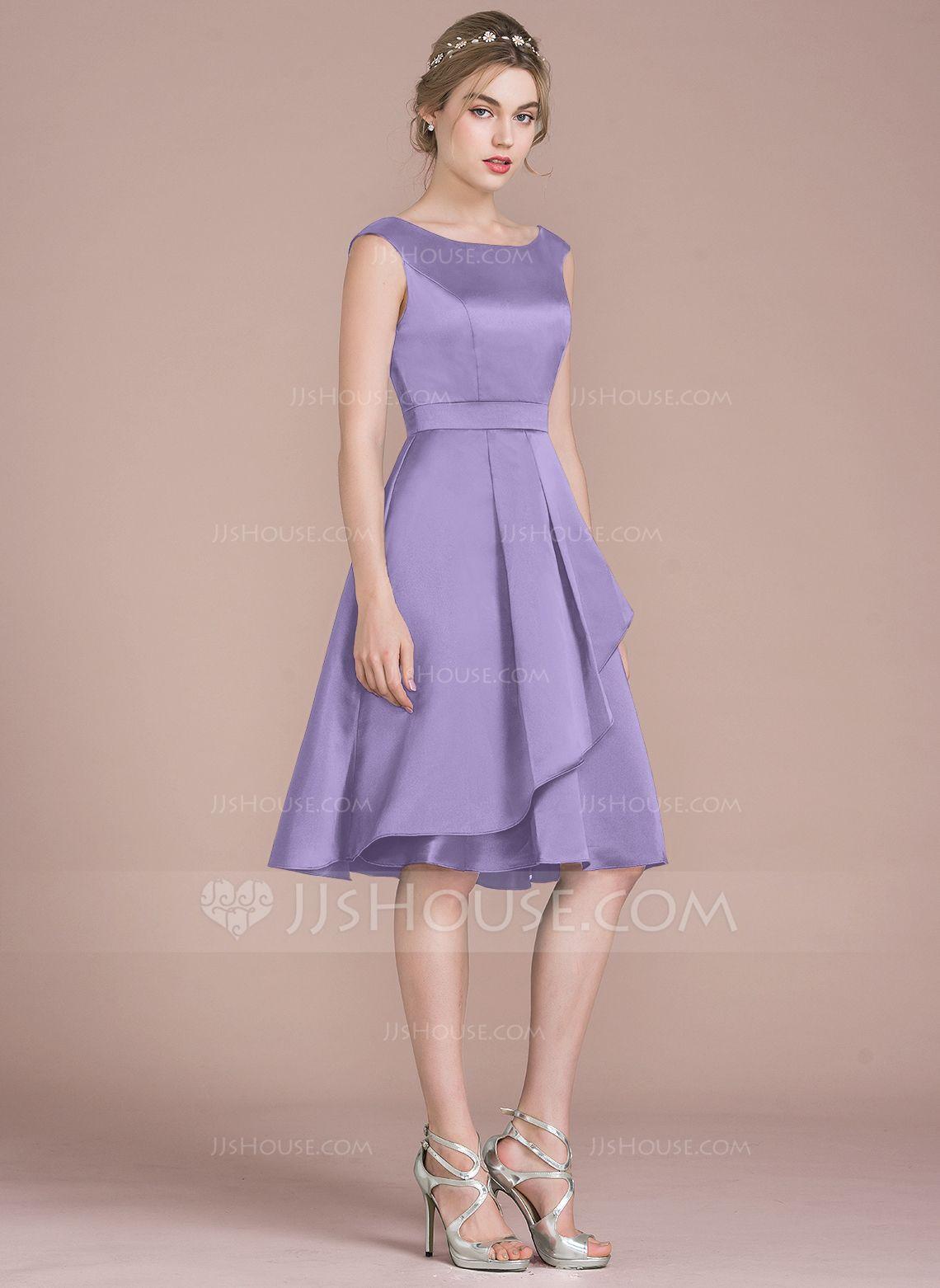 fda254e777 A-Line/Princess Scoop Neck Knee-Length Satin Bridesmaid Dress With Cascading  Ruffles