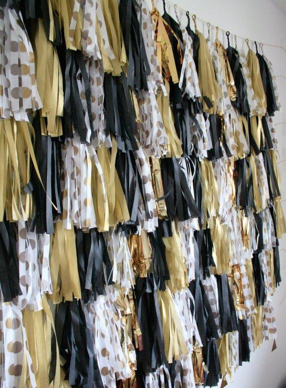 New Years Eve Decoration, Gold, Black, White Tassel Garland, NYE