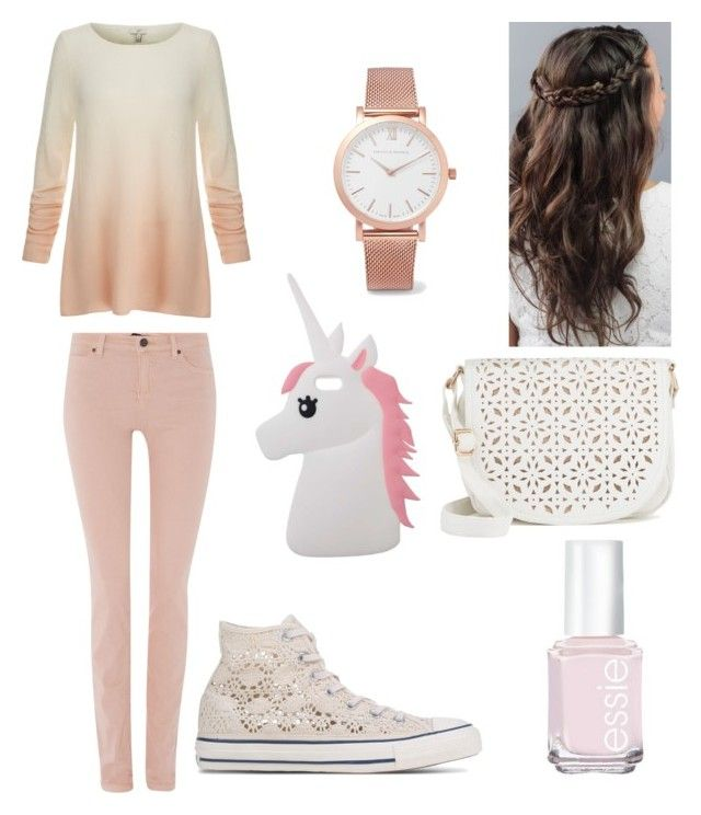 """""""Untitled #117"""" by biaviola2552 on Polyvore featuring Miss Selfridge, Joie, Oui, Essie, Converse, Larsson & Jennings and Under One Sky"""