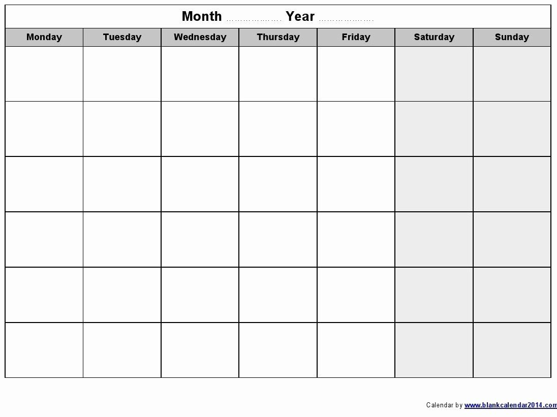 Monday Through Friday Schedule Template New Weekly Calendar Template Monday Weekly Calendar Template Blank Monthly Calendar Template Monthly Calendar Printable