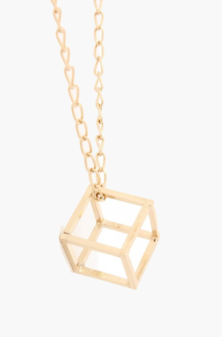 Open Cube Necklace - Gold