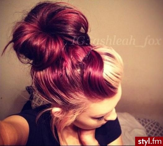 Red And Blonde Hair Hair Colors Two Toned Hair Bun Hairstyle Hair Color Crazy Hair Styles Two Toned Hair