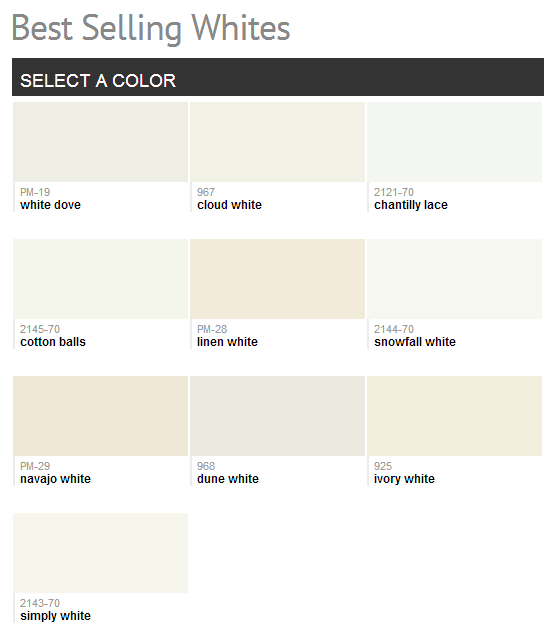 Benjamin Moore Best Selling Whites- Cloud White Is Usually