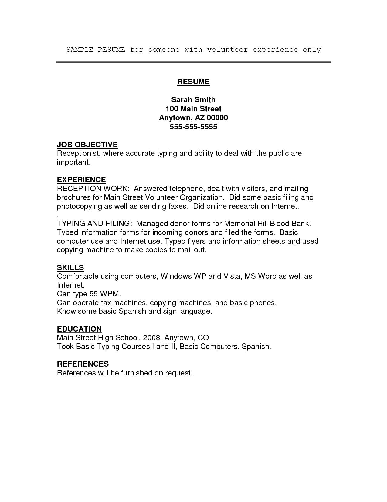 Work Resume Template Volunteer Work  Resume Format And Template