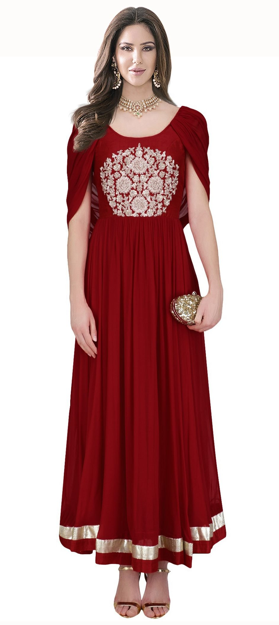478510 Red and Maroon color family gown in Crepe, Silk fabric with ...