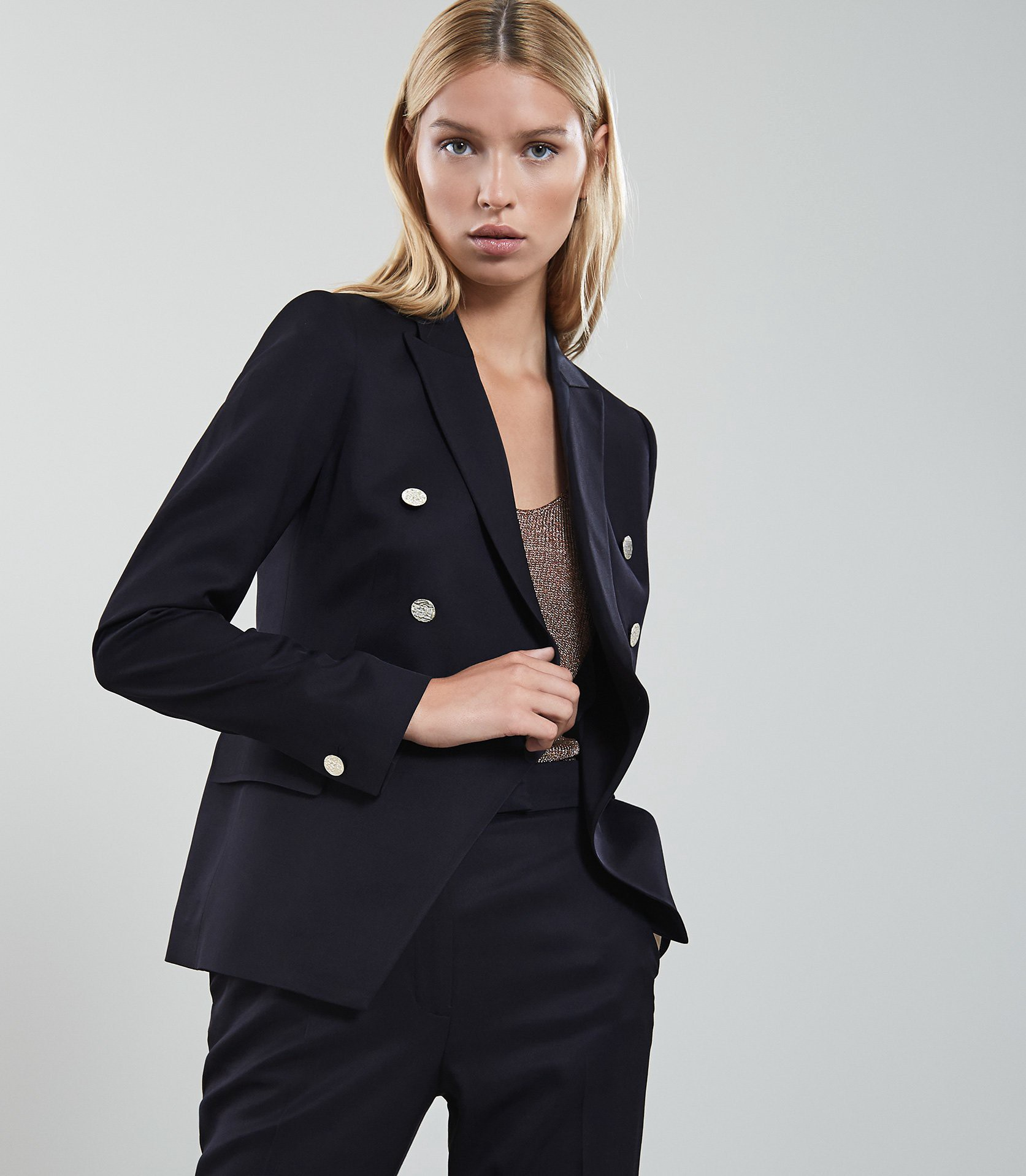 Reiss tally jacket doublebreasted buttondetail navy