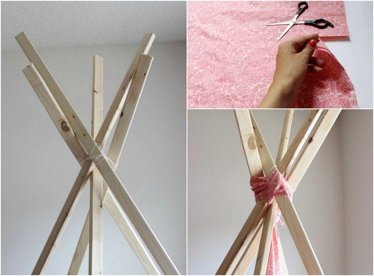 tipi zelt selber bauen und holzstäbe mit stoff binden | diy für's, Schlafzimmer design
