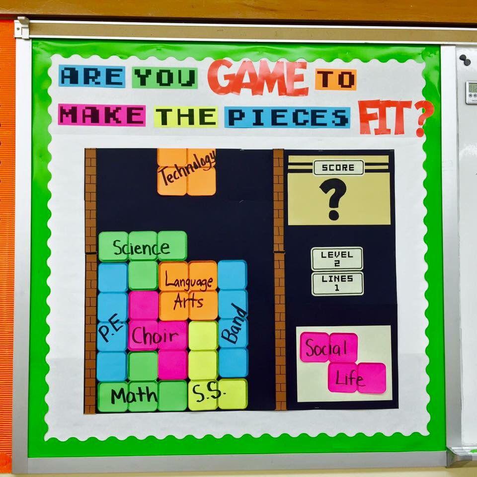 Classroom Quiz Ideas ~ Game on in the classroom tetris themed bulletin board