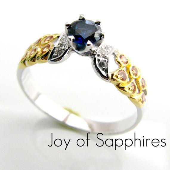 Sapphire Ring  Blue White Yellow Sapphires  18K by 360Diamonds
