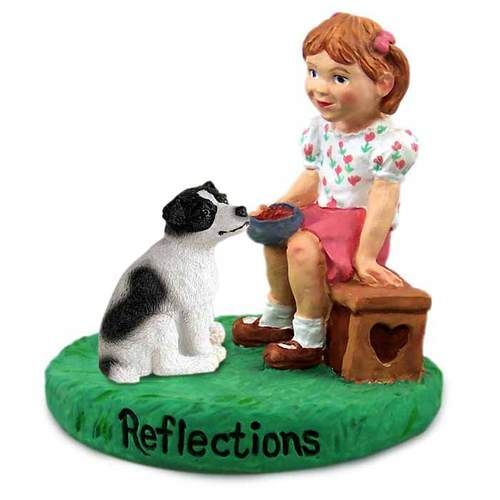 Jack Russell Terrier Black & White with Smooth Coat and Girl Figurine