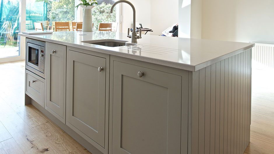 Shaker In Frame in Glenegeary Shaker in Frame in Farrow & Ball Purebeck Stone. The worktop is Blanco Norte. Talk to our Designers We Offer 4 Different Price Options Platinum Gold Silver Contract €13,700 €12,400 €10,500 €5,000 See All Feature See All Feature See All Feature See All Feature Note: All prices quoted include kitchen …