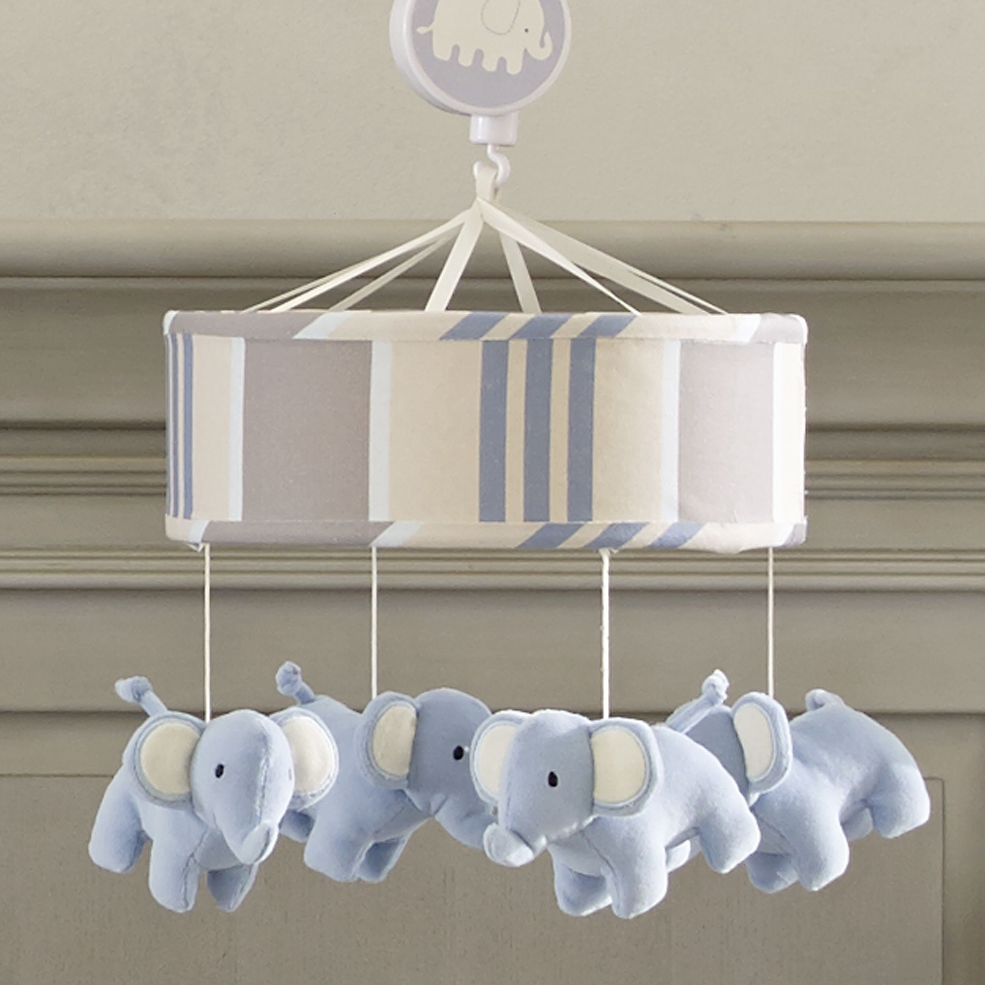 Lambs /& Ivy Signature Elephant Tales Blue//Gray Stripe Musical Baby Crib Mobile
