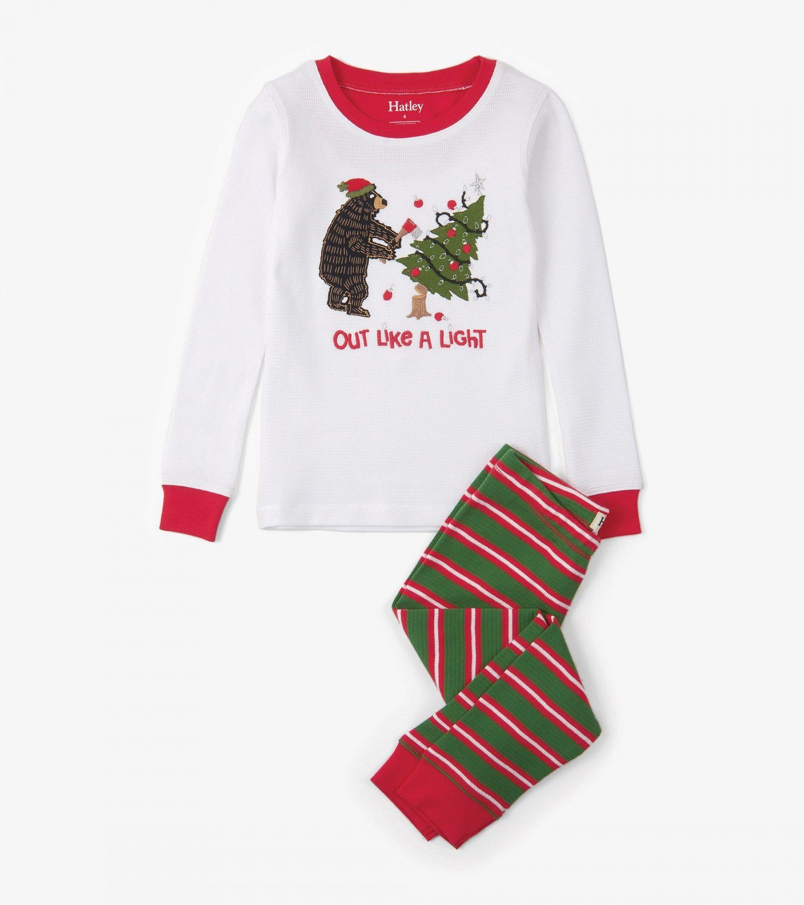 73c2daf14cb5 Santa Stripes Appliqué Waffle Organic Cotton Pajama Set  pajamas ...