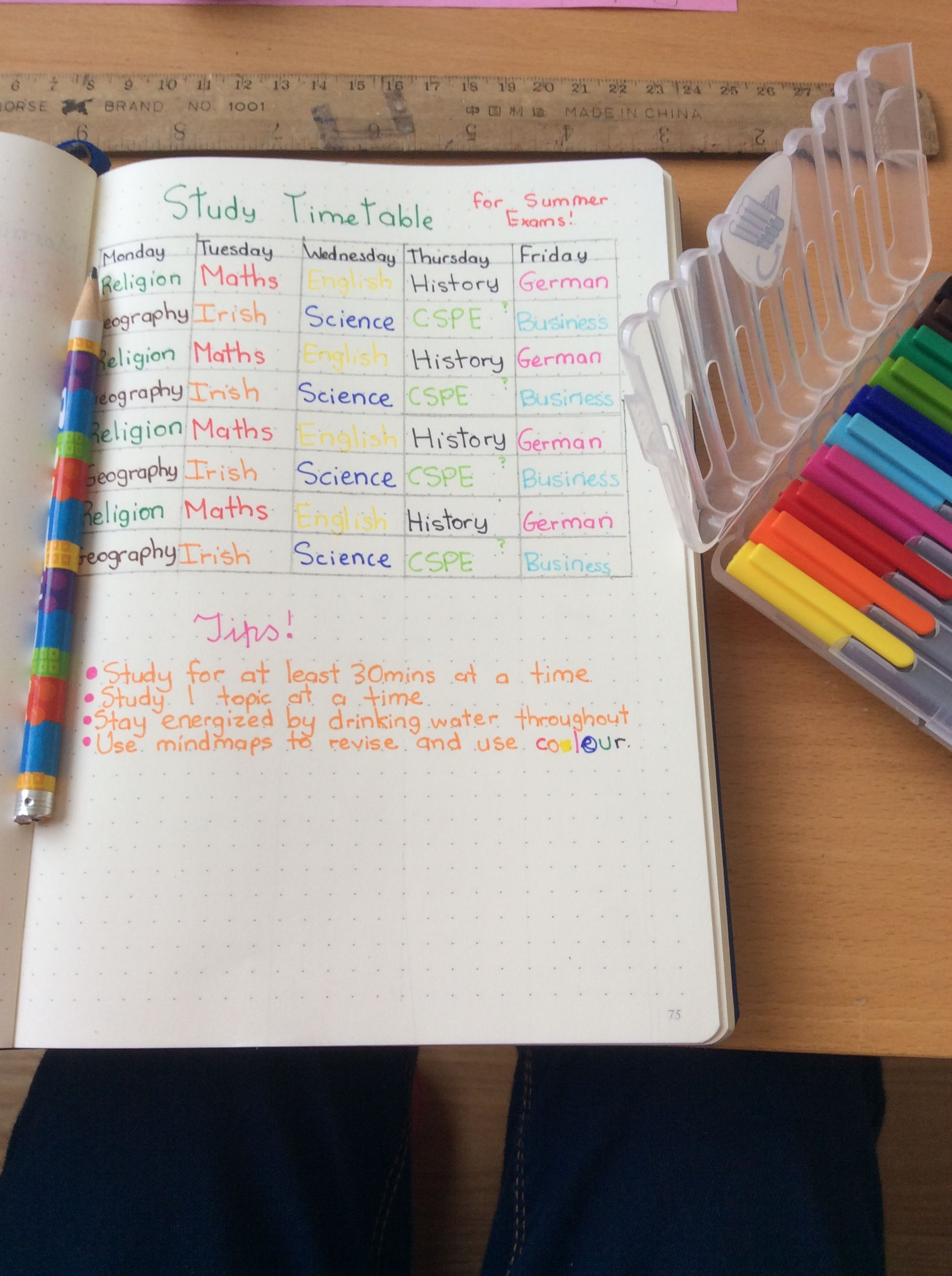 Using My Bullet Journal To Make A Study Timetable Tips And Tricks