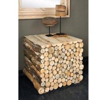 Log Stack Table Rustic Side Table Wood Rustic Furniture