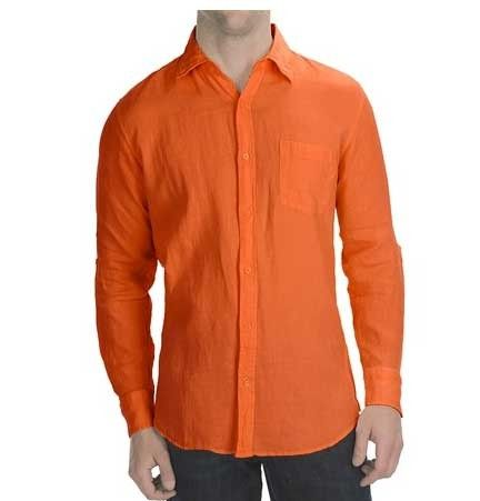 Tropical Summer Linen Wash Wedding Beach shirt for Men. Orange ...