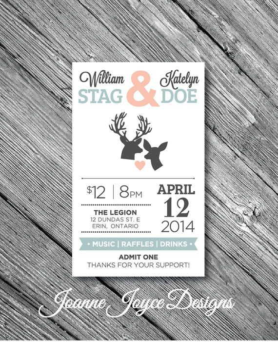 Printed stag and doe ticket Printable stag and doe ticket Buck and Doe tickets Stag and Doe ticket template