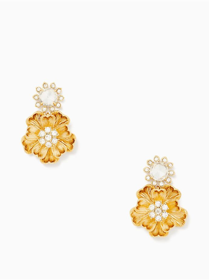 A Luxe Mix Of Gold And Glittering Stones Our Precious Poppies Earrings Is Cool Way To Add Bit Natural Glamour Even The Most Streamlined Ensemble