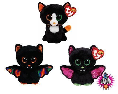 84feb03389e TY BEANIE BOO BABIES PLUSH SOFT TOY HALLOWEEN IGOR SCAREM BAT FRIGHTS CAT