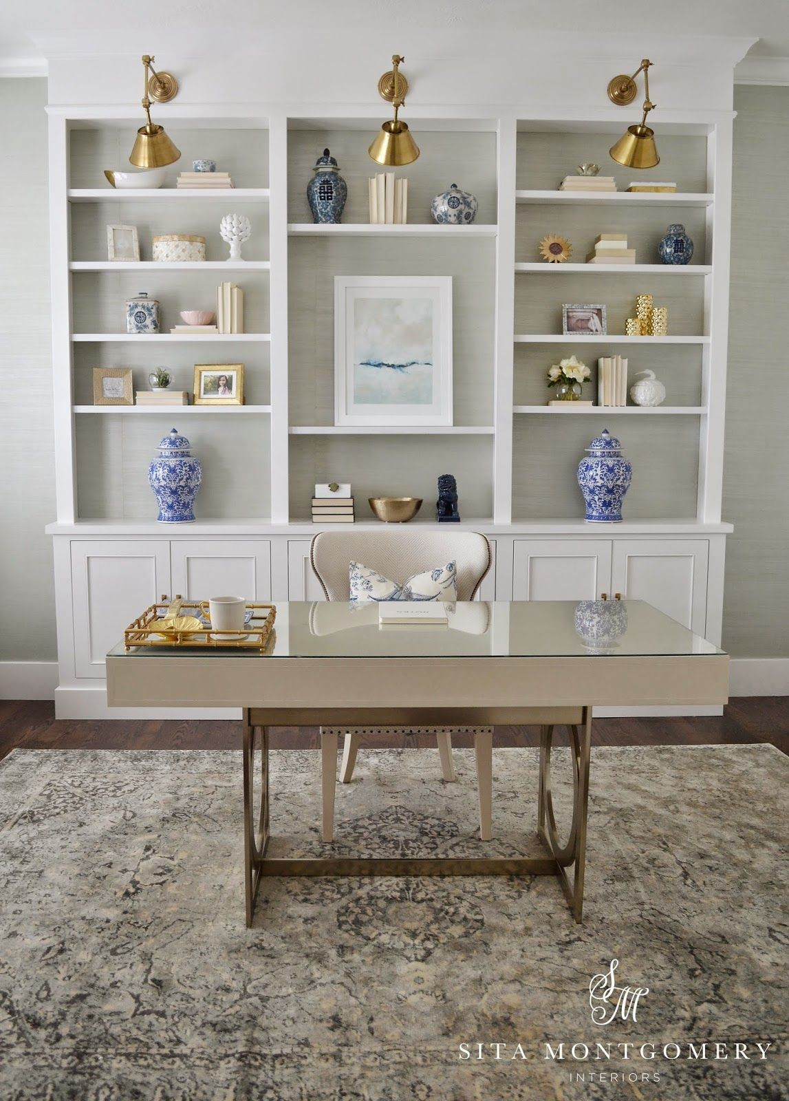 Custom built ins with adjustable shelves for office - Home office cabinetry design ...