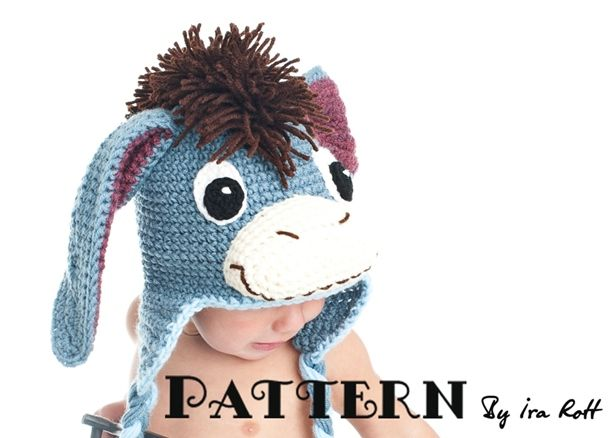 Funky Donkey Hat with Tail and Mohawk PDF Crochet Pattern | Esel ...