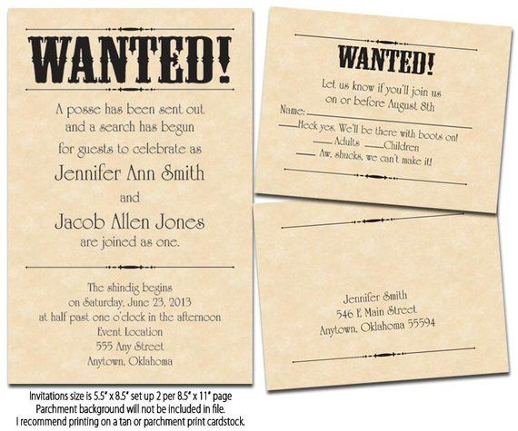 Wanted Poster Printable Wedding Invitations Reply Cards In 2019