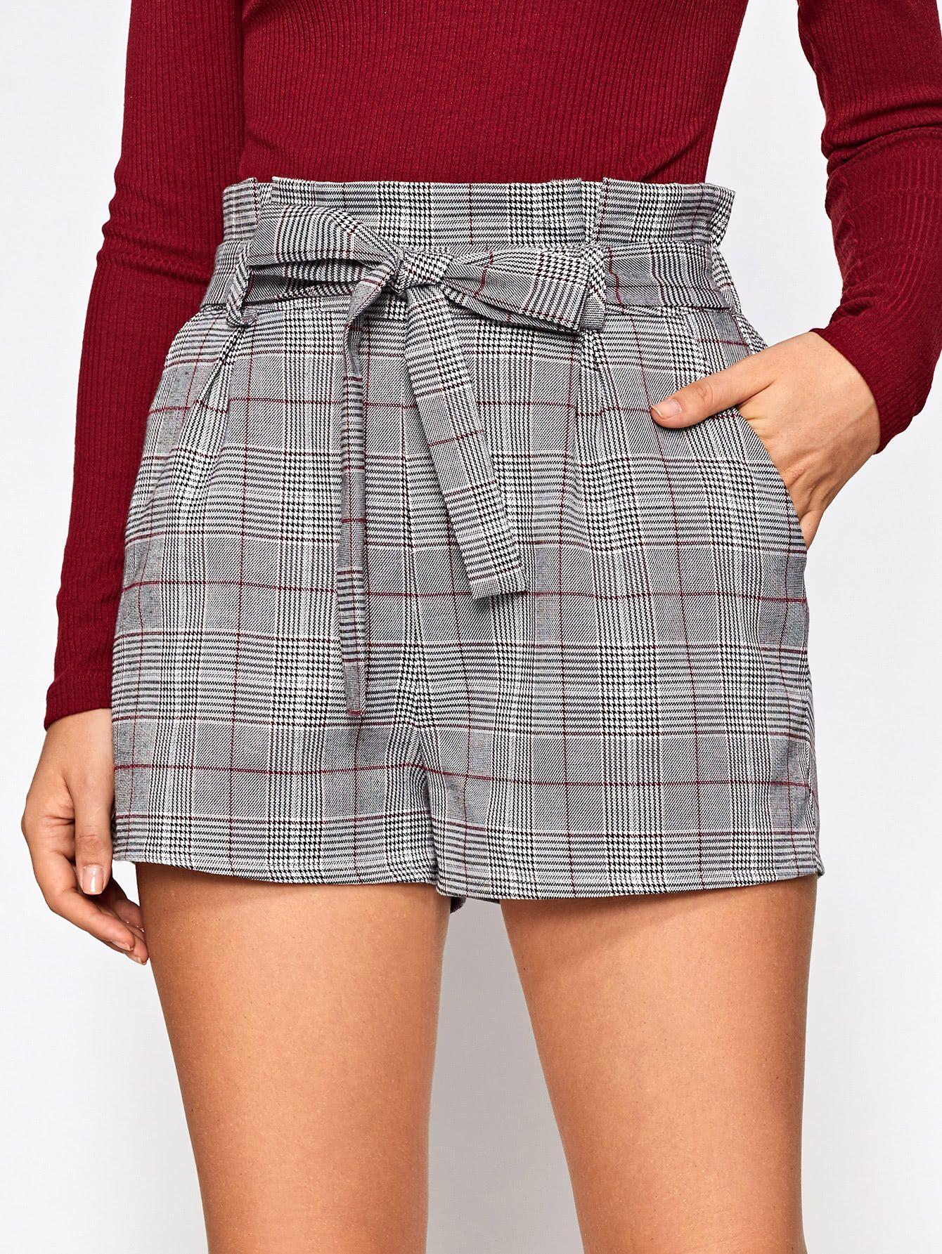 efa076ef38 Shop Bow Tie Ruffle Waist Tailored Check Shorts online. SheIn offers Bow Tie  Ruffle Waist Tailored Check Shorts & more to fit your fashionable needs.