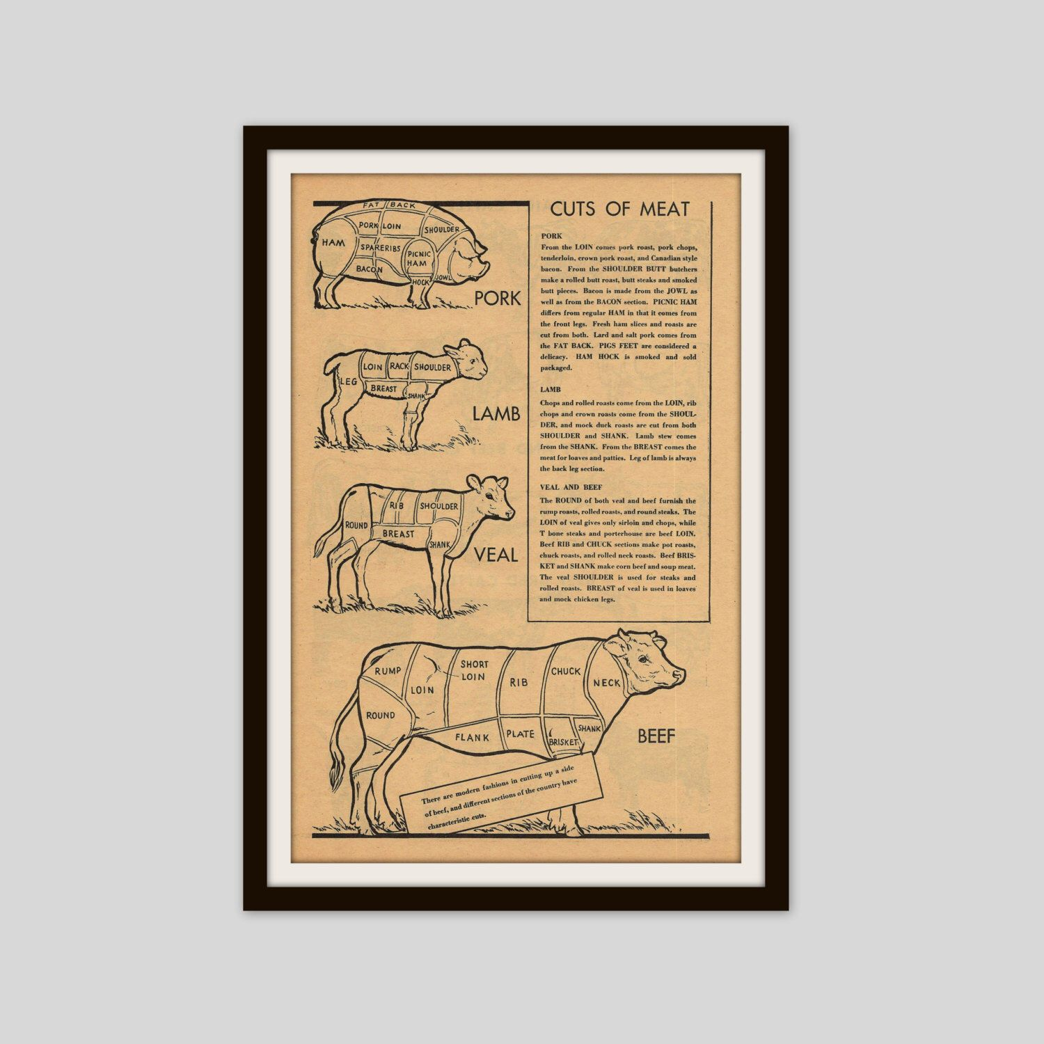 Butcher Illustration, Cuts of Meat Print, Kitchen Wall Art, Gift for ...