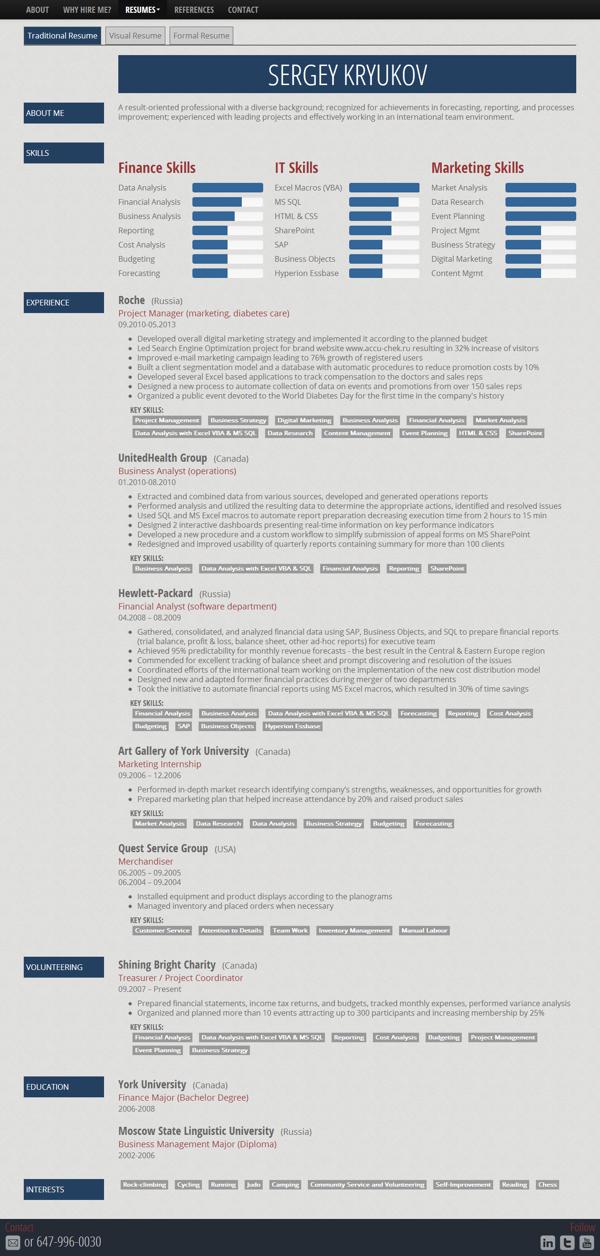 restaurant resume%0A Personal Resume Website  www sergeykryukov com by Sergey Kryukov  via
