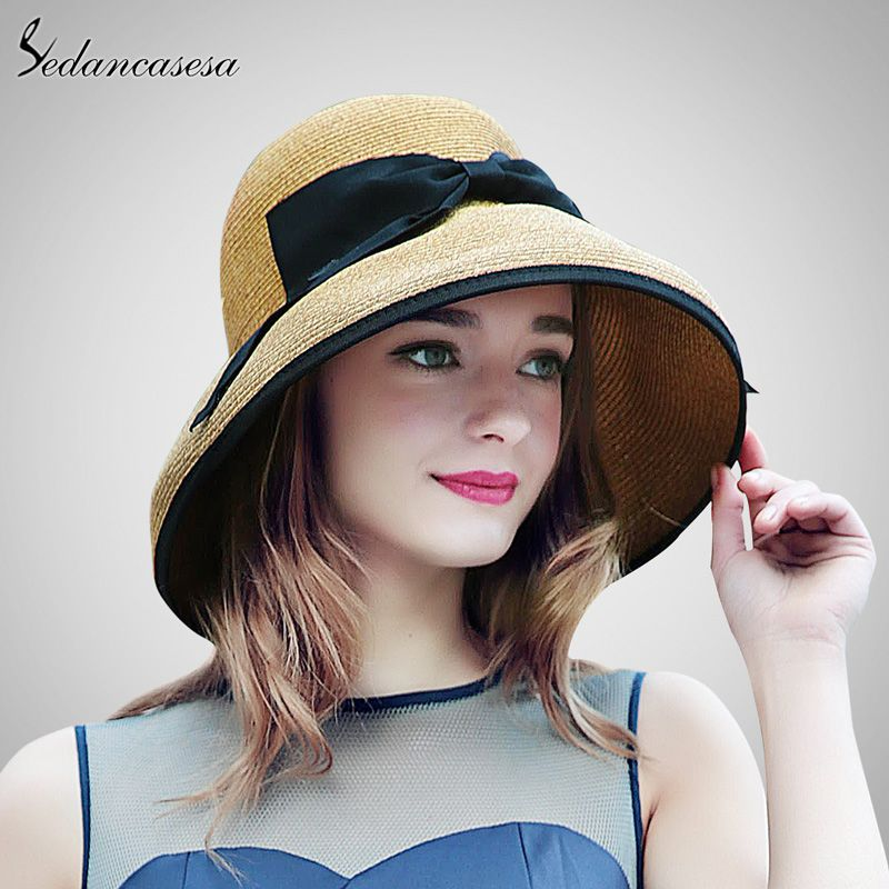 430d4029025 2017 New Summer Wide Brim Beach Women Sun Straw Hat Elegant Cap For Women  UV protection black bow straw hats girls hot SW129001