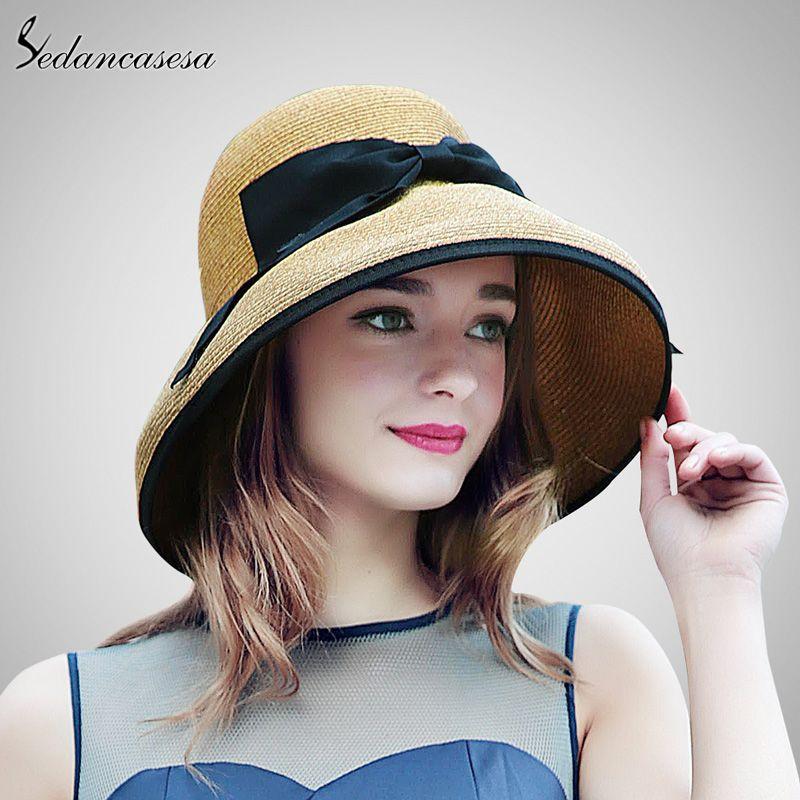 Summer Wide Brim Beach Women Sun Straw Hat Elegant Cap For Women WOW  shop   42f4ee6aa034