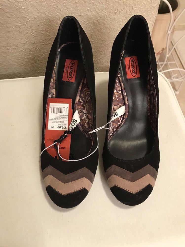 57e9b238db5 Missoni Target Zigzag Pattern Toe Black Brown Chevron Suede Pumps 6.5   fashion  clothing  shoes  accessories  womensshoes  heels (ebay link)