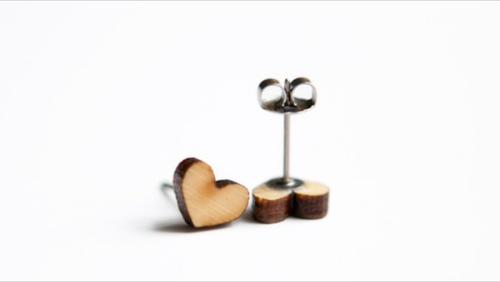 Bamboo Love Heart Earrings