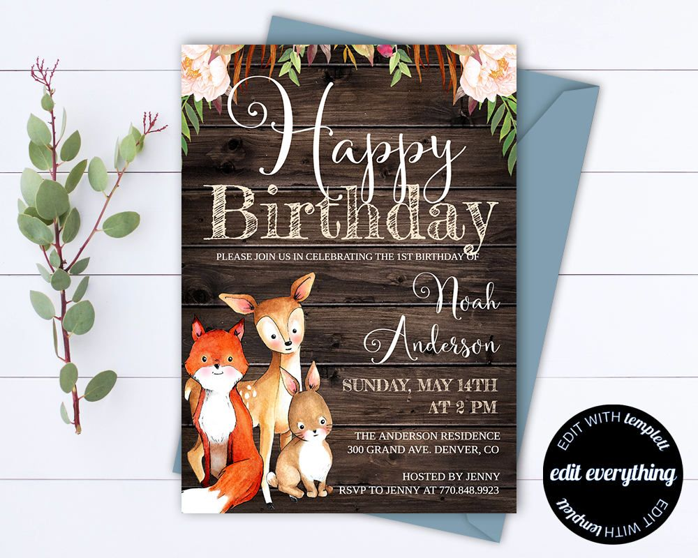 Woodland Birthday Party Invitation Template Rustic Birthday  Etsy