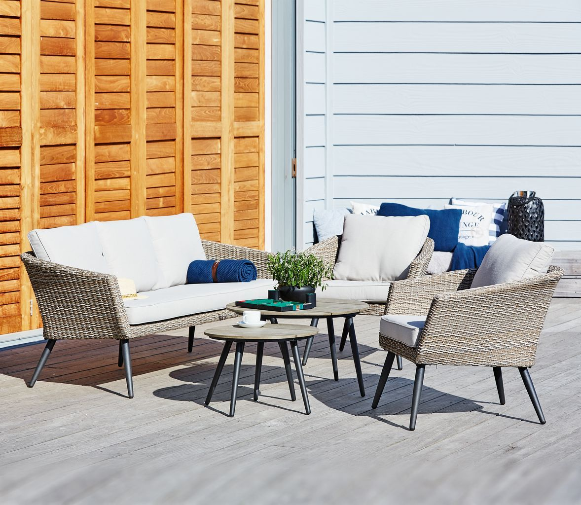 Garden Lounge Furniture Set Beautifully In A Scandinavian Style Style With Cushions And Thro Scandinavian Outdoor Furniture Outdoor Furniture Design Furniture